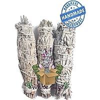 3 pack Salvia Blanca incienso, white sage 7 pulgadas de largo 1.5 ancho/malas vibras, aroma terapia, aromática,
