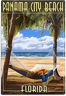 product image for Lantern Press Panama City Beach, Florida, Hammock and Palms (12x18 Aluminum Wall Sign, Wall Decor Ready to Hang)