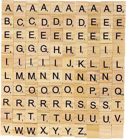 KAIMENG Madera Letras Cartas Scrabble Cartas de Cuadrado Juegos de azulejos: Amazon.es: Hogar