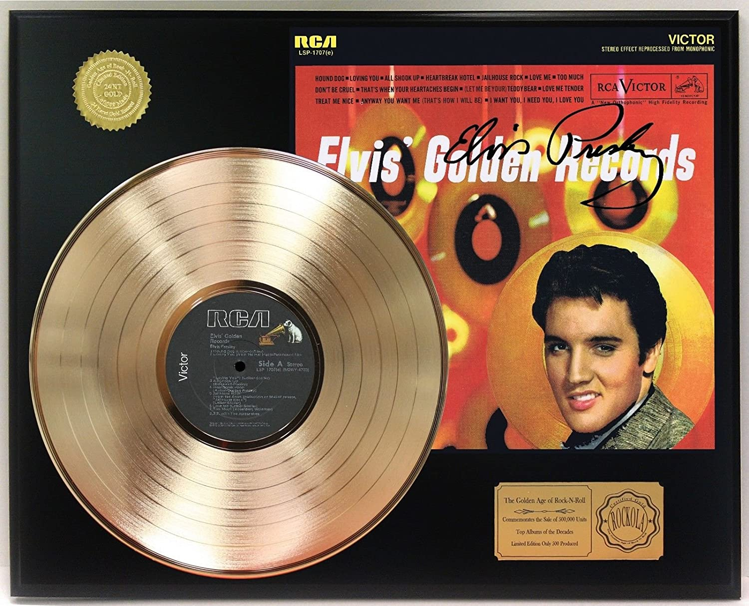 Elvis Presley Golden Records Gold Lp Signature Display C3