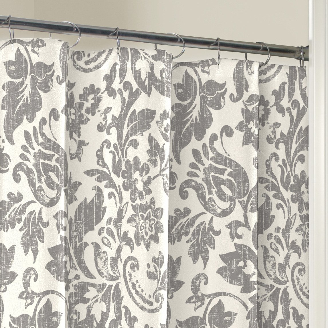 Amazon.com: Marble Hill 16753SHWR072GRY Tanner Shower Curtain, 72x72 ...