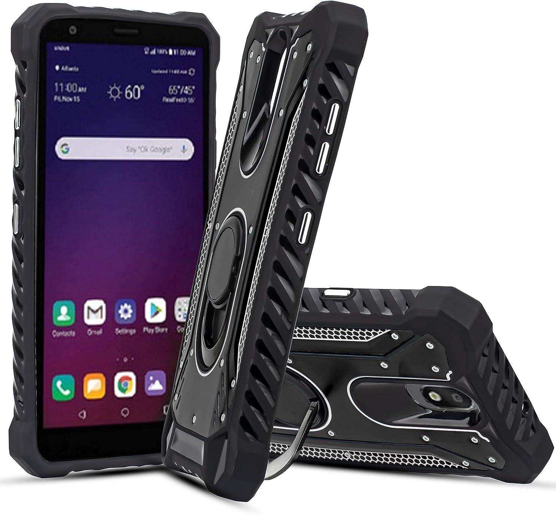 Customerfirst for LG Escape Plus/LG K30 (2019)/ LG Arena 2/ Journey LTE Case Metal Ring Stand Aluminum Hybrid Heavy Duty Defender Jacket Shockproof TPU Tough Armor Cover [Drop Cushion Corner] (Black)