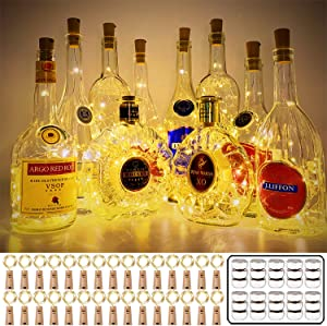 MUMUXI 30 Pack 20 LED Wine Bottle Lights with Cork, 3.3ft Silver Wire Cork Lights Battery Operated Fairy Mini String Lights For Liquor Bottles Party Wedding Halloween Christmas Decorations, Warm White