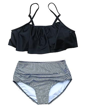 2b46abdeb93 RXRXCOCO Women High Waisted Swimsuit Flounce Falbala Two Piece Padded Bikini  Set