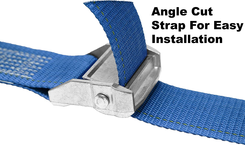 Endless Loop Zinc Diecast Cam Buckle Polyester Tie-Down Webbing. Shrink Wrap Packaging No Hooks CustomTieDowns 2 Pack 1.5 Inch Cinch Strap Endless Loop Tie Down
