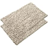 VDOMUS Absorbent Microfiber Bath Mat Soft Shaggy Bathroom Mats Shower Rugs - 2 Pieces (Beige)