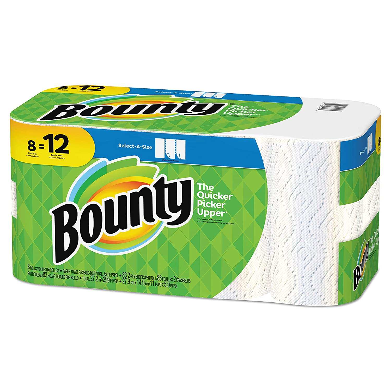 Bounty 2層select-a-size紙タオル、11 x 5 15 /16in、ホワイト、パックの8 Giant Rolls B07CYJJVKP