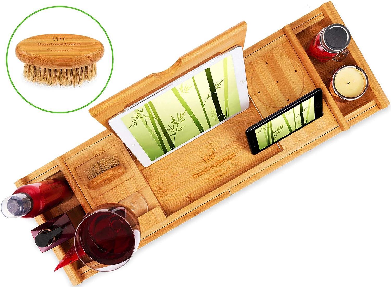 Bamboo Queen Progettato per Misure da Bagno UK Vassoio per Vasca da Bagno con Supporto per iPad e Vino Organizer Estensibile per Accessori