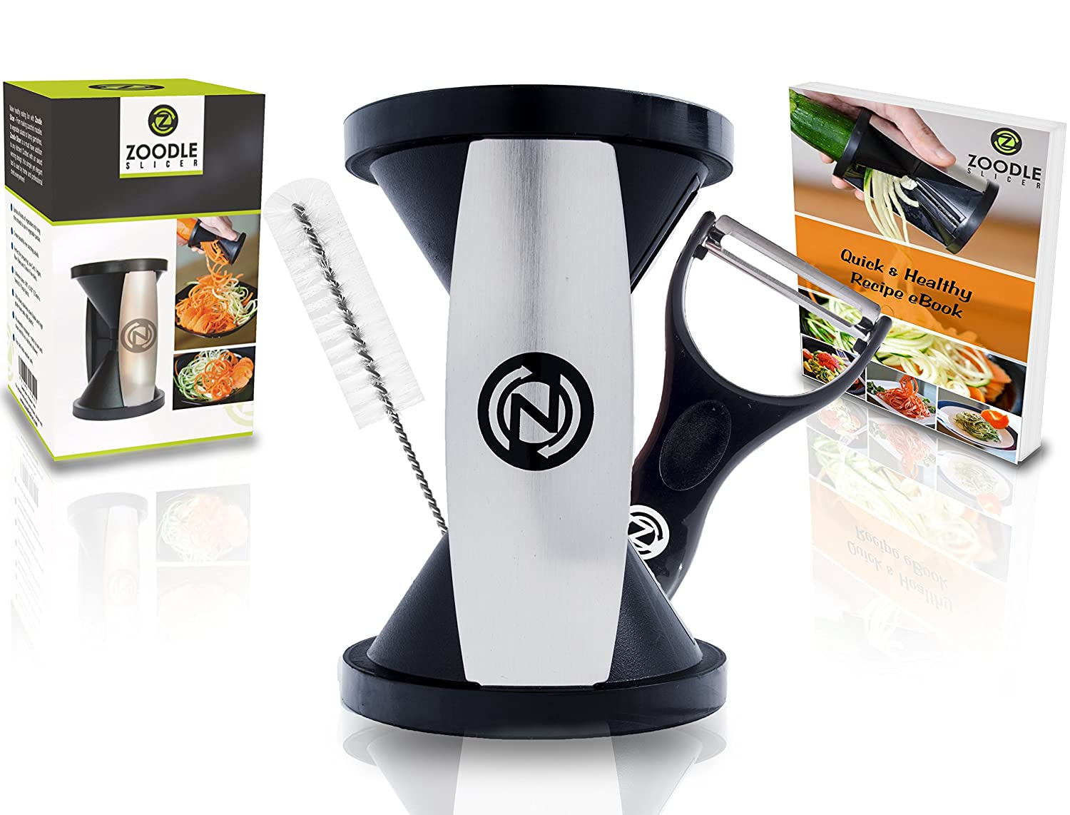 Vegetable Spiralizer Bundle (With Cleaning Brush, Peeler & eBook)