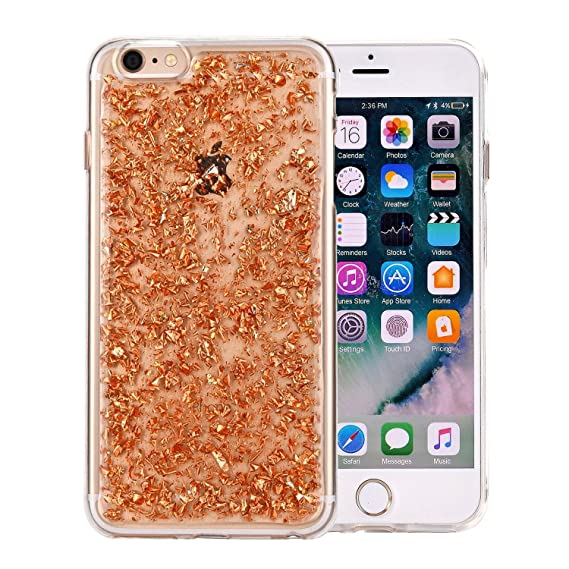 iPhone 7 Case Fall iPhone 8 Case Embedded Flakes Clear Thin Luxury Glitter  Leaf Bling Slim 8cdf5bfa2