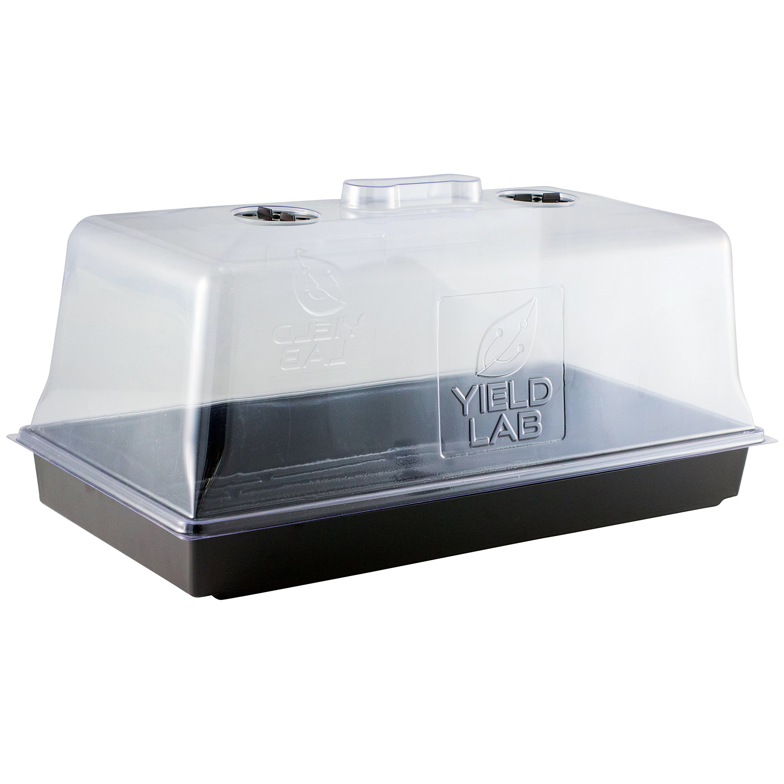 Yield Lab 10 x 20 Inch Black Plastic Propagation Tray - Hydroponic, Aeroponic, Horticulture Growing Equipment (1, Dome and Tray) by Yield Lab
