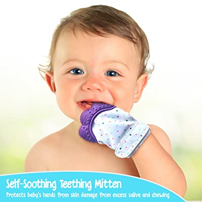 Baby Blu'z Soothing Silicone Teething Mitten with Travel Bag, Non Toxic 100% BPA Free, Ideal for Baby Shower Gift, (Purple)