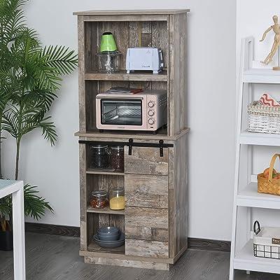 Buy Homcom Freestanding Rustic Kitchen Pantry Storage Cabinet With Barn Door Design Adjustable Shelf Vintage Wood Online In Slovakia B08dzy4xvn