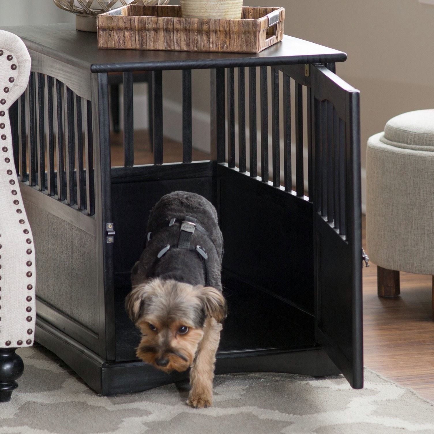 Dog Crate Kennel Cage Bed Night Stand End Table Wood Furniture Cave House Room Large size / Black. by Newport