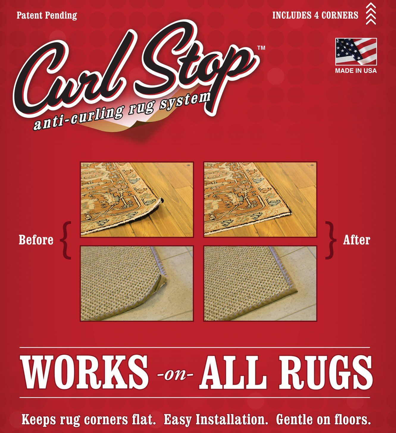 curl stop anti curling rug system pack of 4 corners