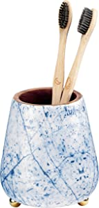 Folkulture Toothbrush Holder for Bathroom, Tooth Brushing Holder for Bathrooms, Modern Wooden Holder for Tooth Brushes and Toothpaste, Acacia Wood, 4 x 3 Inches, Blue Print