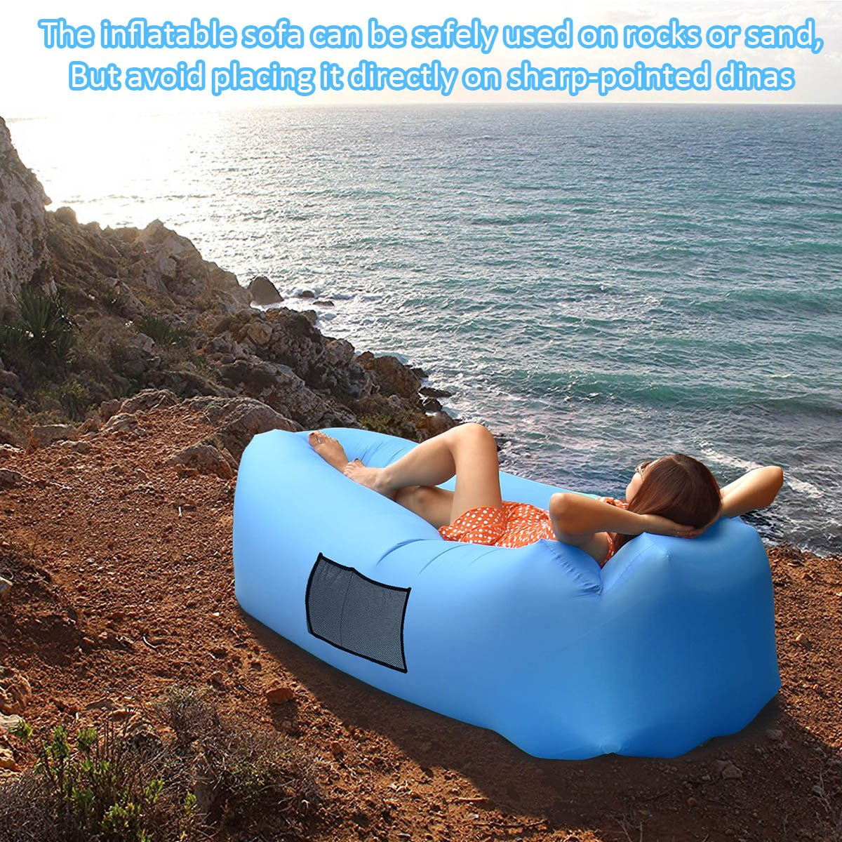 AngLink Inflatable Lounger, Portable Air Sofa Couch bed Nylon Waterproof Durable Foldable with Carry Bag for Indoor/Outdoor Lounging Summer Hiking ...
