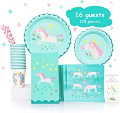 Unicorn Theme Birthday Party Set Supplies Pack - 16 guests - Paper Plates, Cups, Napkins, Goodie Bag, Straws & Gift Favors - Accessories, Decorations for Kids Parties - Table Sets For Girls
