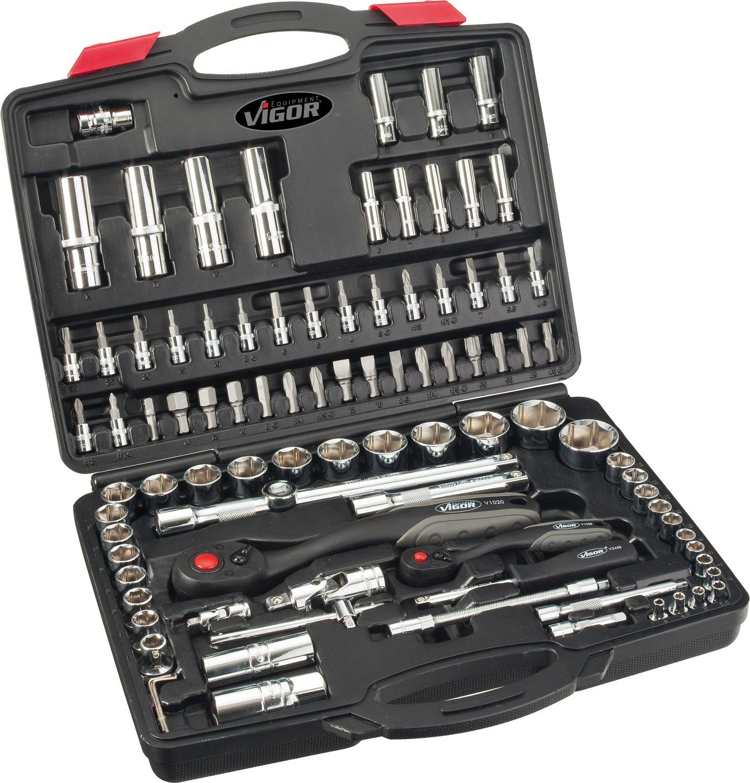 Vigor V2461 - Maletí n con juego de llaves de carraca, vasos y puntas (6,3 mm/ 1/4', 10 mm/ 3/8' y 12,5 mm/ 1/2', 172 piezas) 3 mm/ 1/4 10 mm/ 3/8 y 12 5 mm/ 1/2