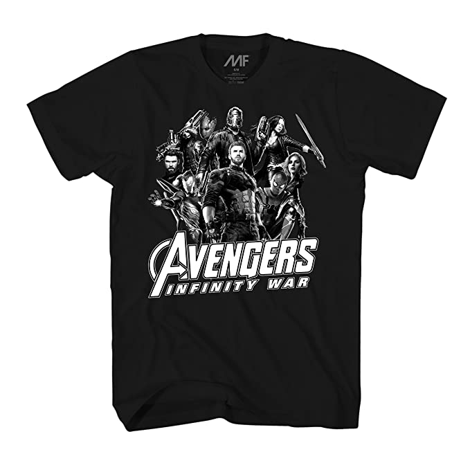 Marvel avengers infinity war black white poster mens t shirt medium black