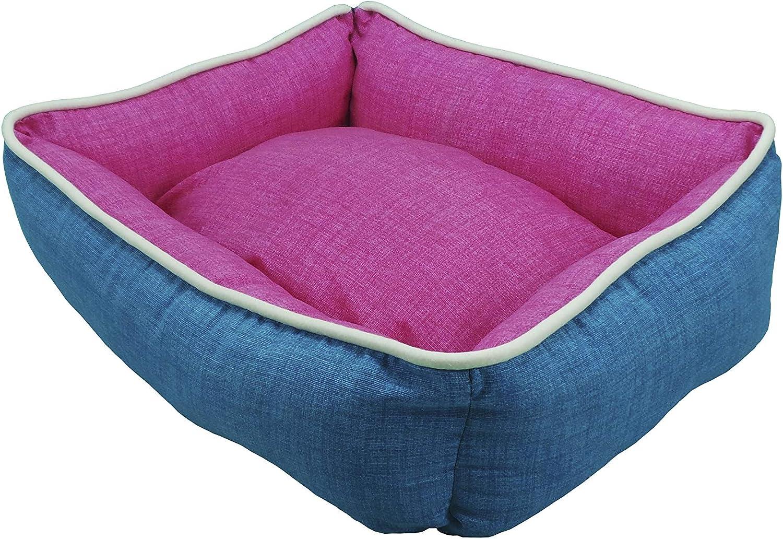 Talla 1-50x40, Reversible Bicolor 4 EN 1 Naranja//Gris ION/® Cama Cuna para Perro Y Gato Estampados y Colores Varios