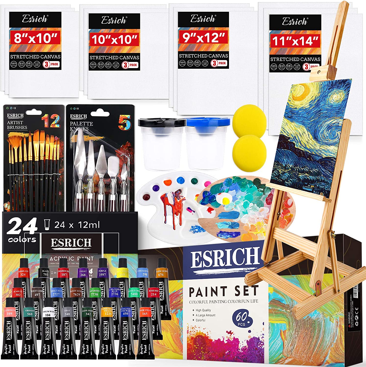 Easel Brushes Pack of 60