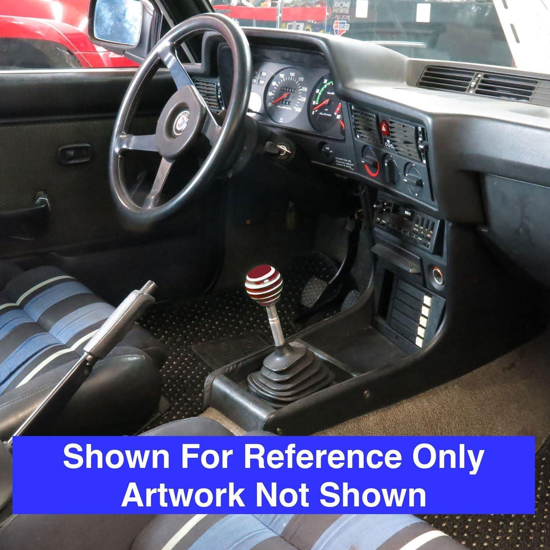 American Shifter 274411 Shift Knob Black 5 Speed Shift Pattern - Prison Ticket Red Stripe with M16 x 1.5 Insert