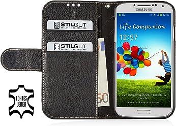 StilGut Custodia esclusiva Slimcase in vera pelle con scomparto per soldi e carte di credito per Samsung Galaxy S4 i9500 e i9505 - nero