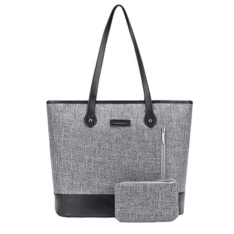 UtoteBag Women 15.6 Inch Laptop Tote Bag Notebook Shoulder Bag Lightweight  Multi-Pocket Nylon Business 9fd48984b9