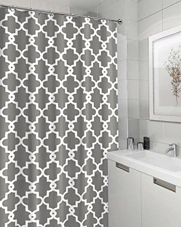 Eve Split Geometric Patterned Water Repellent Fabric Shower Curtain,Window  Panel Drapes Drapes For
