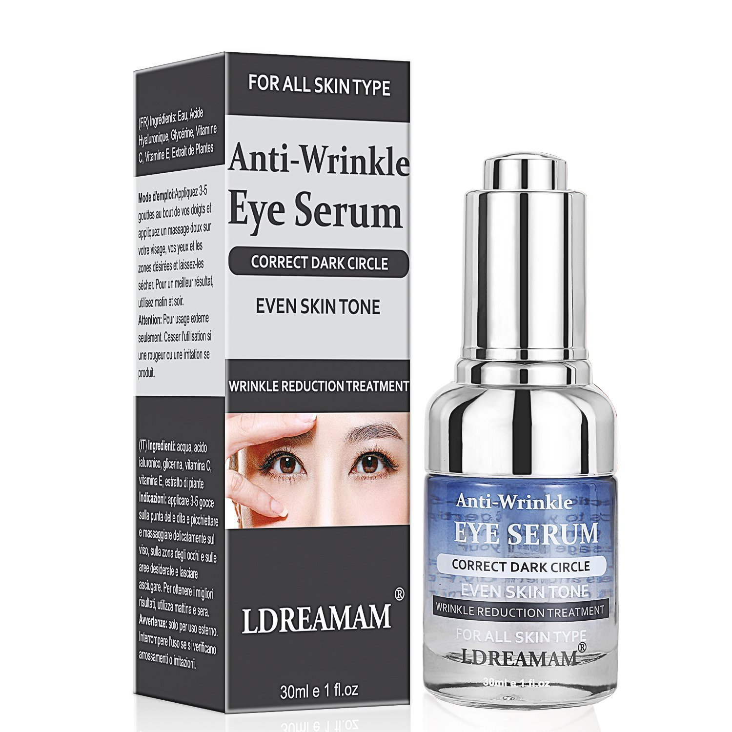 Anti Wrinkle Eye Serum,Anti Ageing Eye Serum, Hydrating Eye Serum,for Eyes&Skin ,Pure Moisturizer to Hydrate & Enriches Skin, Reduce Wrinkles & Fine Lines,Natural Under Eye Repair Treatment Serum And Bag Remover Gel LDREAMAM