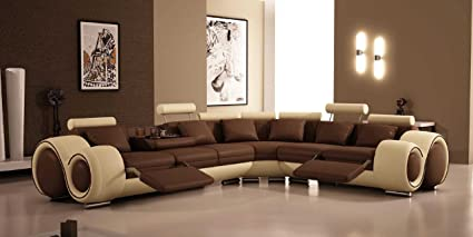 Bon 4087   Bonded Leather Sectional Sofa With Recliners