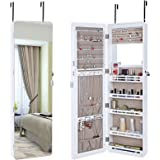 SONGMICS Jewelry Cabinet Wall Mount Lockable Jewelry Armoire Full Length Mirror with LED Light White