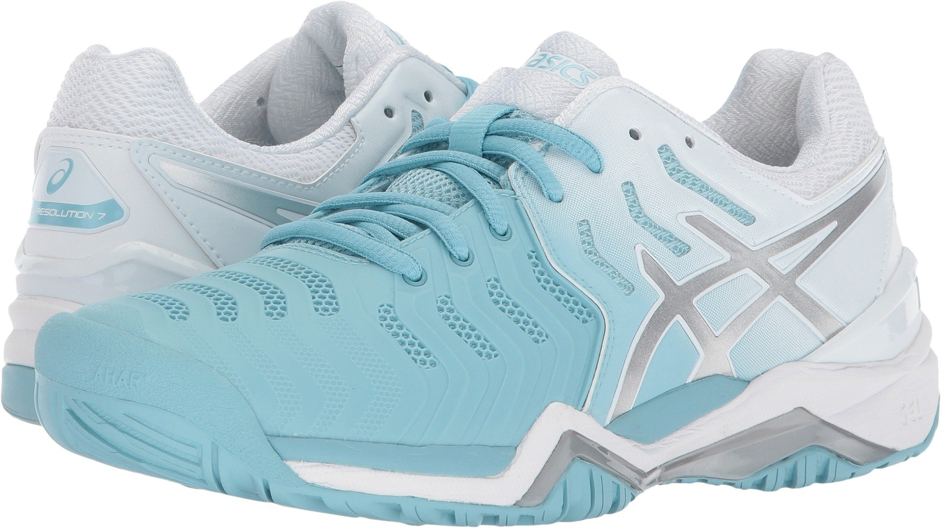 ASICS Womens Gel-Resolution 7 Sneaker, Porcelain Blue/Silver/White, Size 10