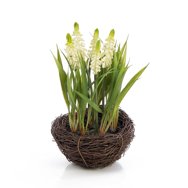 Fleurs de muscari artificielles dans un panier en forme de nid, blanc, 20 cm, Ø 18 cm - Jacinthe artificielle / Composition artificielle - artplants