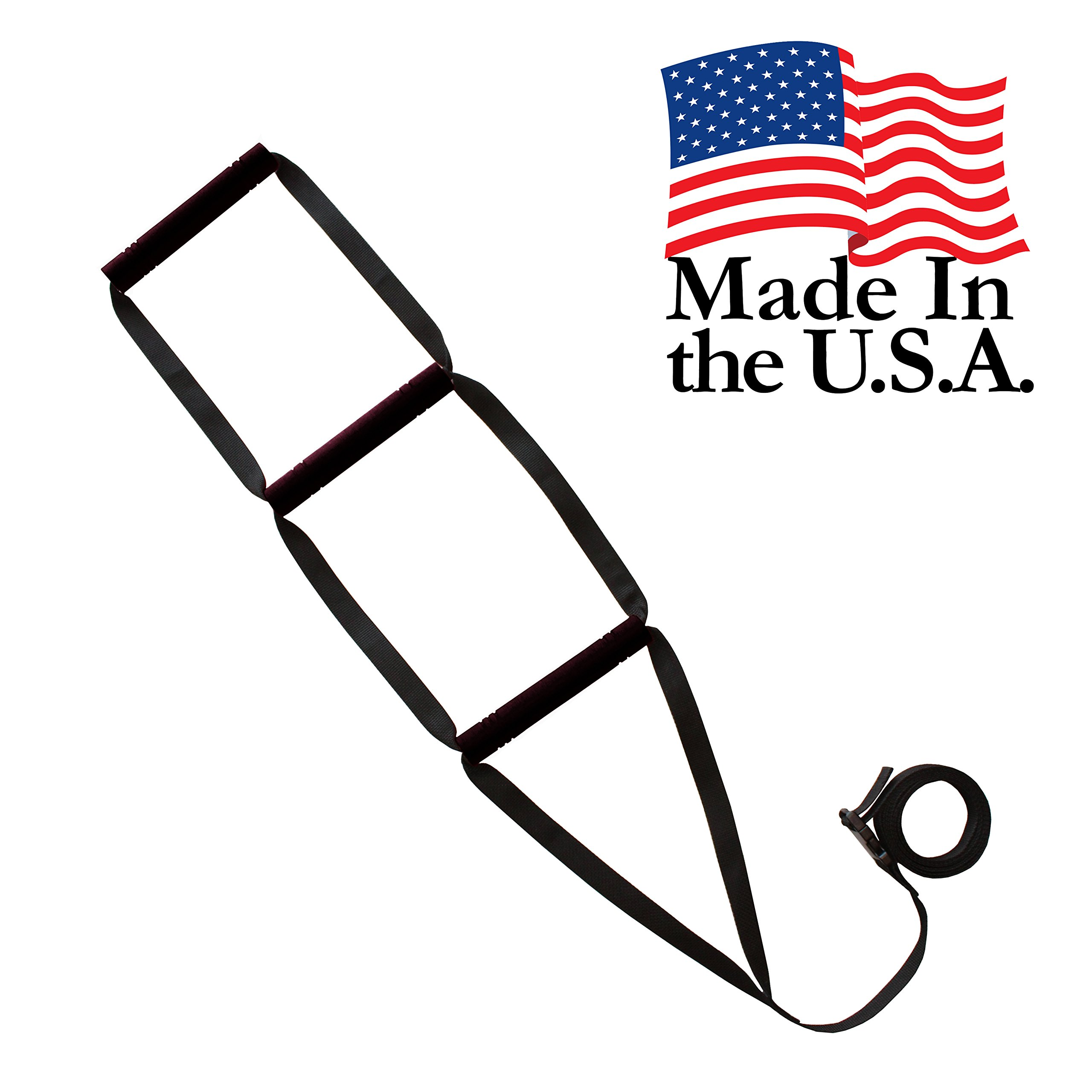 Bed Ladder Assist - Sit-Up Bed Assist Handle - Rope Ladder for Sitting Up In Bed - Pull Up Hoist for Elderly, Senior, Injury Recovery Patients and Pregnant Women - 3 Wide Padded Hand Grips (Black)
