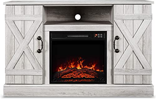 BELLEZE 47 TV Stand Entertainment Center for TV s Up to 50 W Infrared Electric Fireplace, Sargent Oak