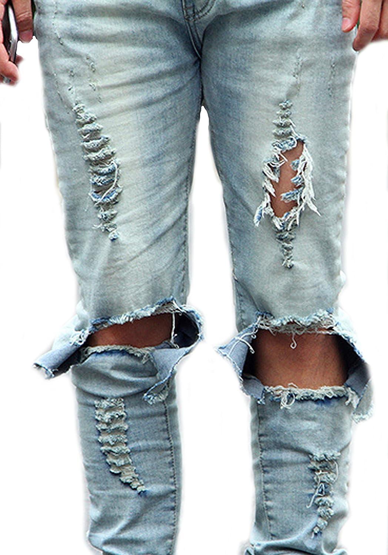 7063266f10 Mens Hole Slim Biker Jeans Denim Straight Jeans Casual Hip Hop Pants Size  42 well-