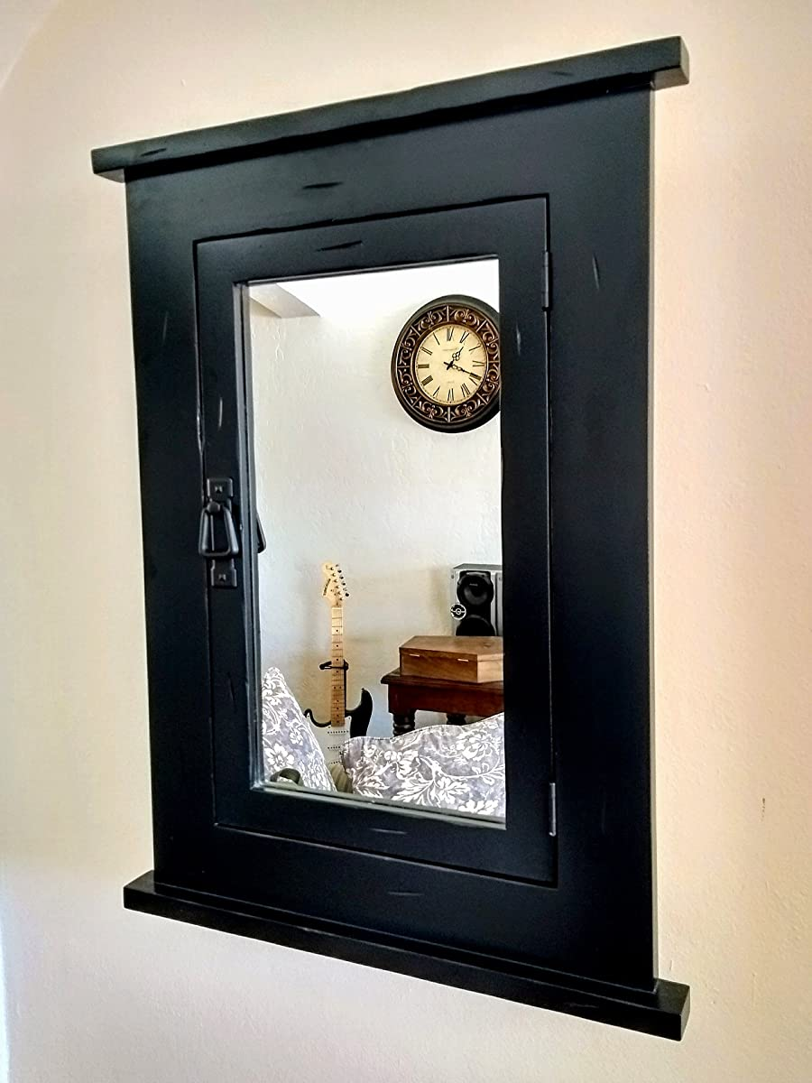 D&E Wood Craft Cabinets Primitive BLACK Mission Recessed Medicine Cabinet/Rustic/Solid Wood & handmade