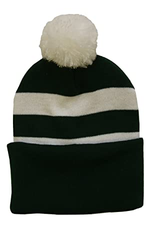 3b5a64b47f9 Bottle Green and White Traditional Style Pompom Hat  Amazon.co.uk  Sports    Outdoors