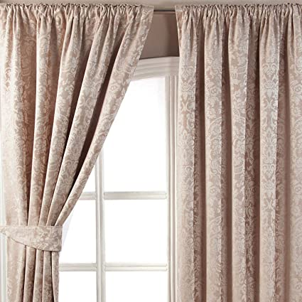 Pencil Pleat Curtains of Jacquard Hook /& Pole For Bedroom and Living Room
