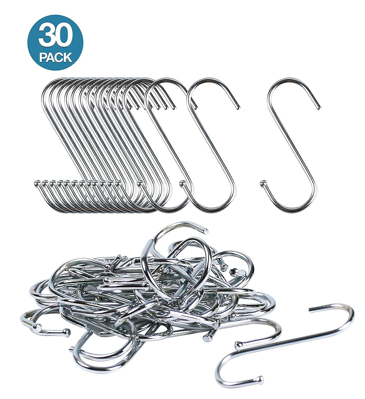 S Hooks Hanging Kitchen Pot Hangers - Heavy Duty Metal 30 Pack for Plants Bakers Rack Closet Rod Pans