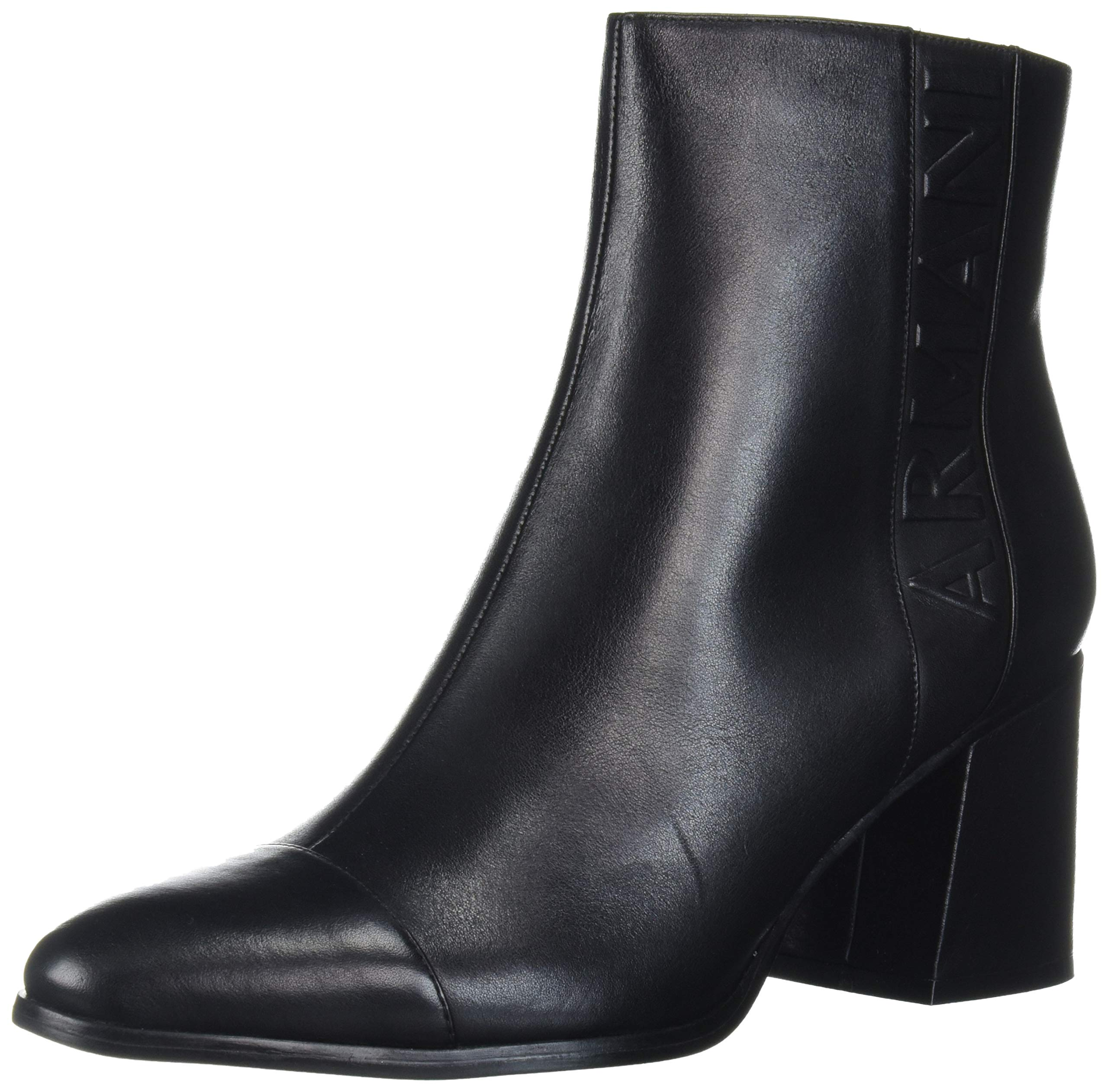 A|X Armani Exchange Women's Ankle Boot with Chunky Heel, Black, 38M Medium EU (7 US) by A|X Armani Exchange