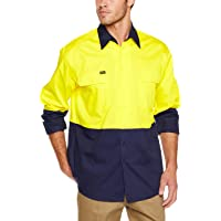 BISLEY WORKWEAR Men's BS6895_TT01 Two Tone HI VIS Cool Lightweight Drill Shirt - Long Sleeve Assorted