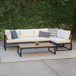 Walker Edison Macae Contemporary 4 Piece Modular Plank Design Outdoor Sectional, Set of 4, Black