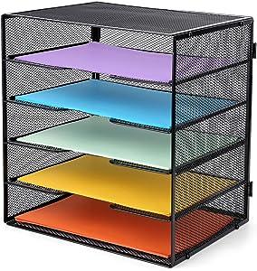 ProAid Desk Letter Tray Organize, Mesh Desktop File Organizer with 5 Tier Paper Size Shelves and a Sorter for Desk Accessories, Black