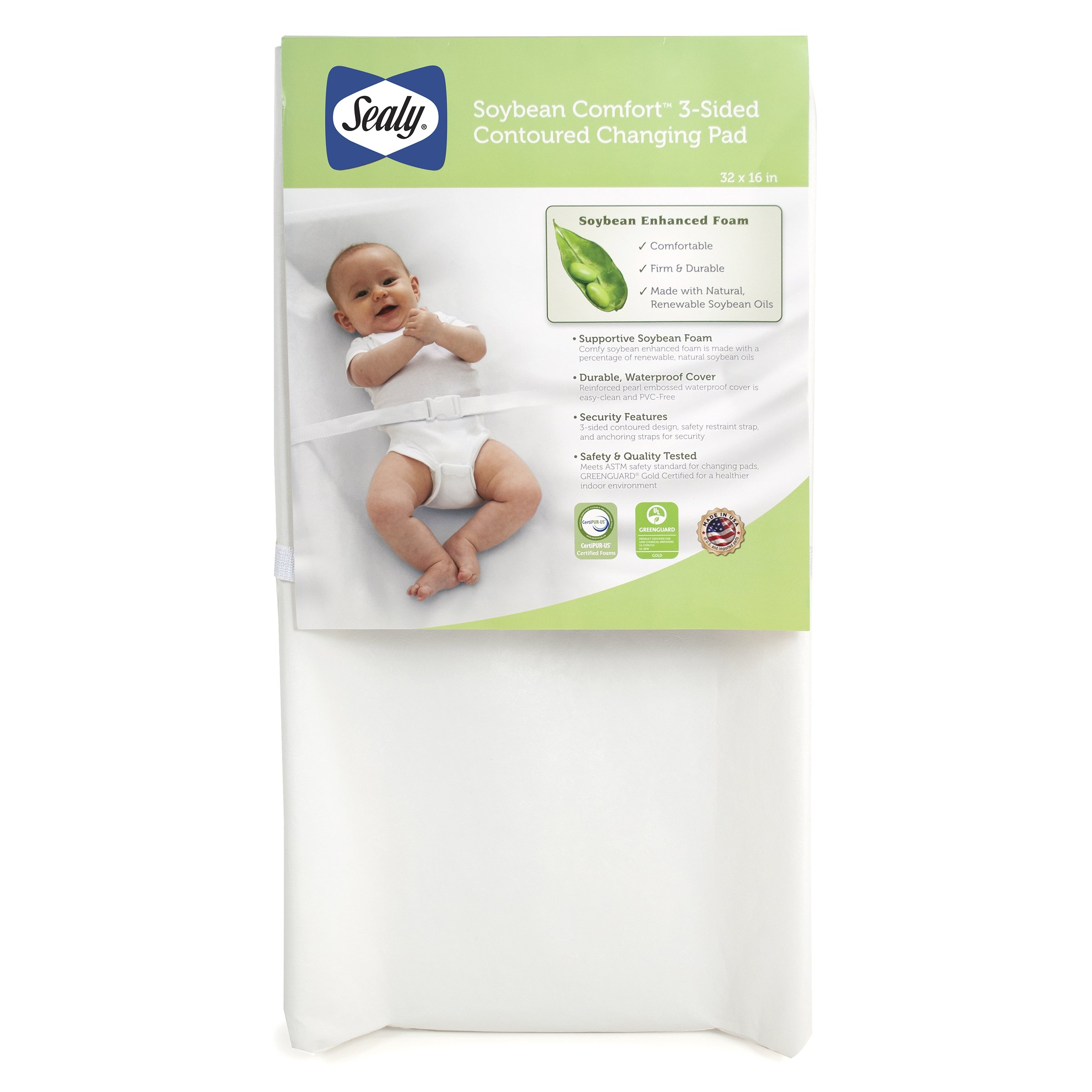 """Sealy Soybean Comfort 3-Sided Contoured Diaper Changing Pad, 32"""" x 16"""" with Easy-Clean Waterproof Cover and Safety Straps, CertiPur-US Certified Foam, PVC-Free (White)"""