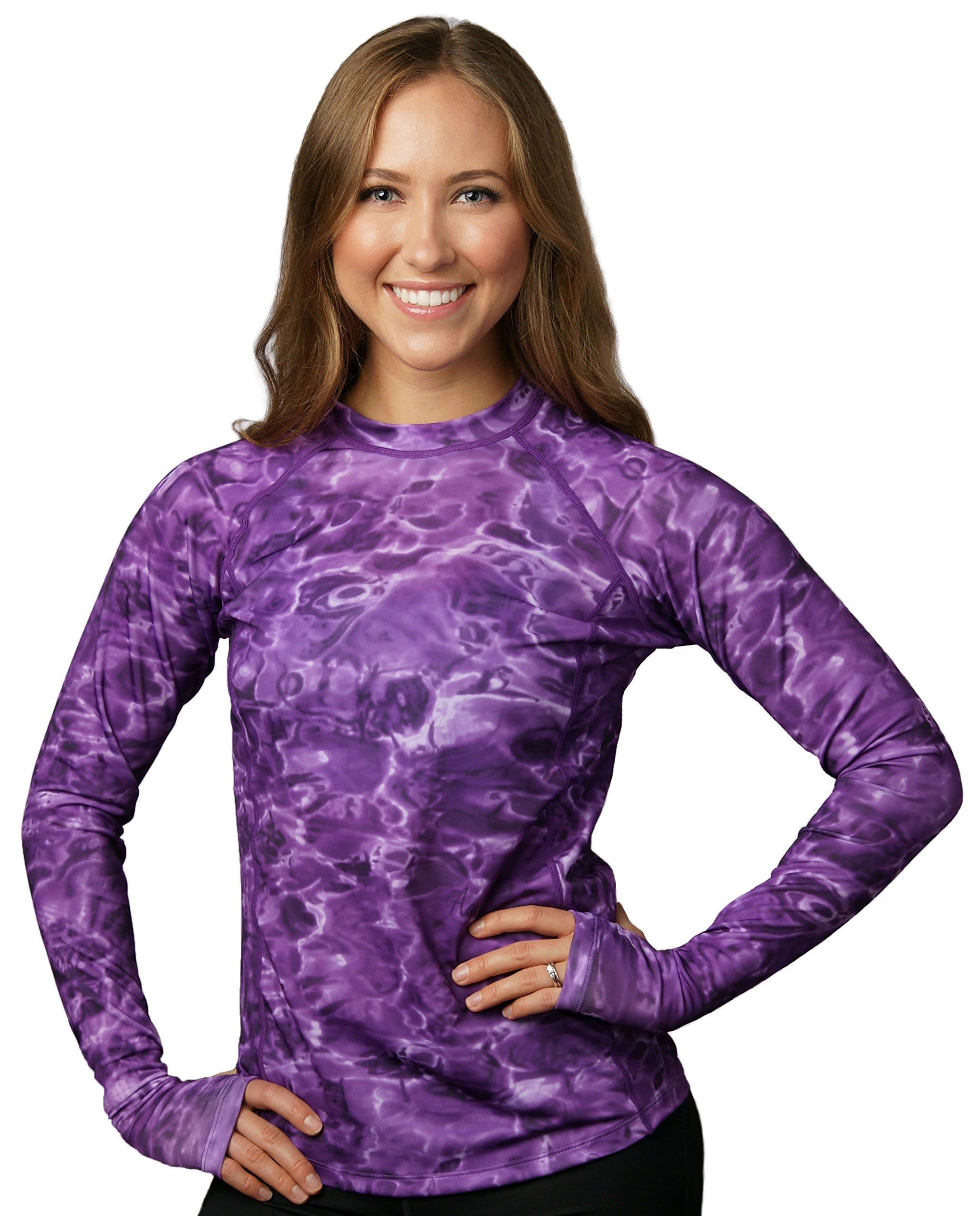 Aqua Design Womens Comfort Fit Long Sleeve Swim Surf Rash Guard With Thumb Holes,Liquid Purple,Medium