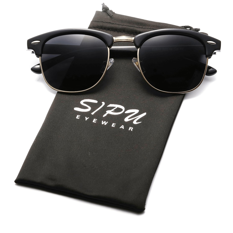 Vintage Half Frame Polarzied Sunglasses SIPU Retro Brand Sun Glasses for Men and Women