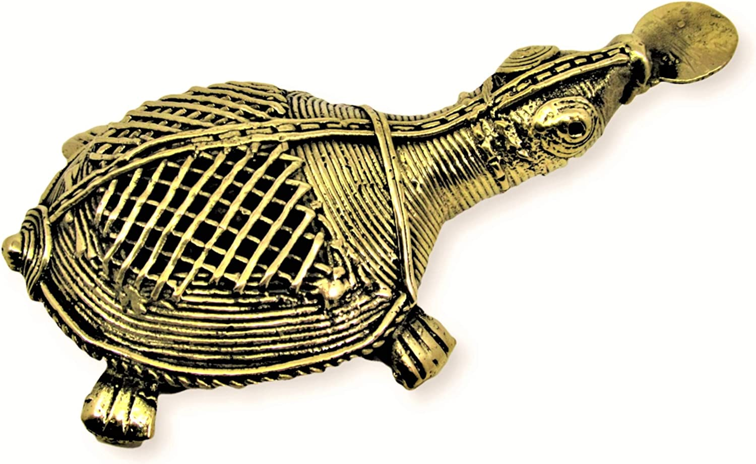 OmSai Dhokra Metal Art - Handcrafted Tortoise with Coin | Vaastu Significance | Turtle for Home | Desk Decor